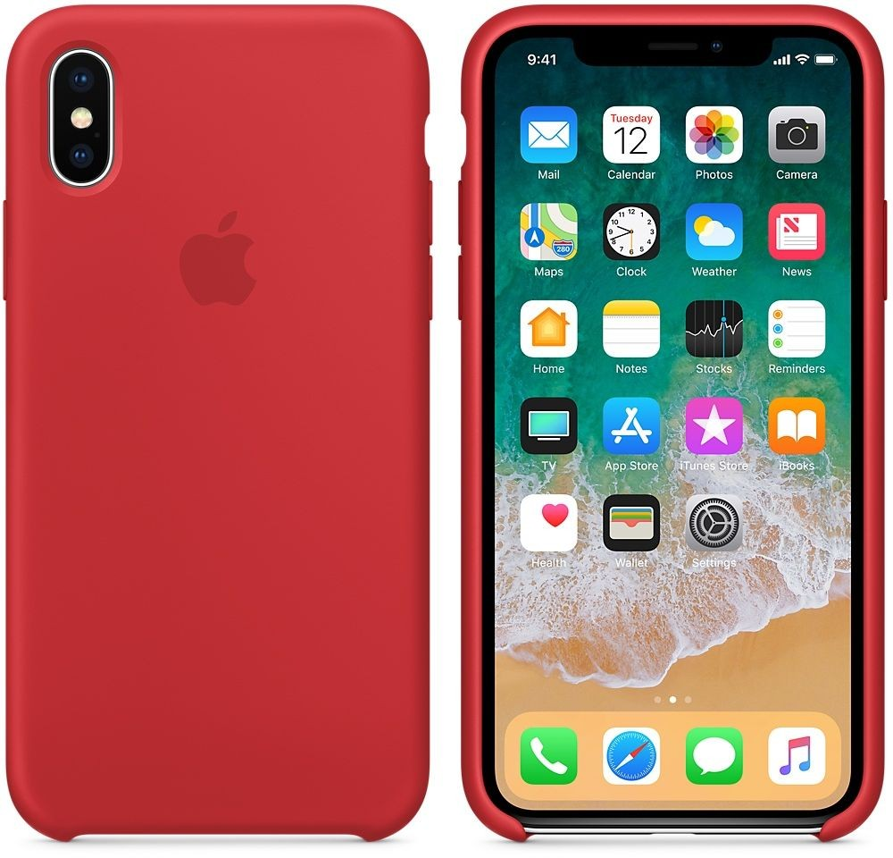 Apple Silicone Case for iPhone X, Red