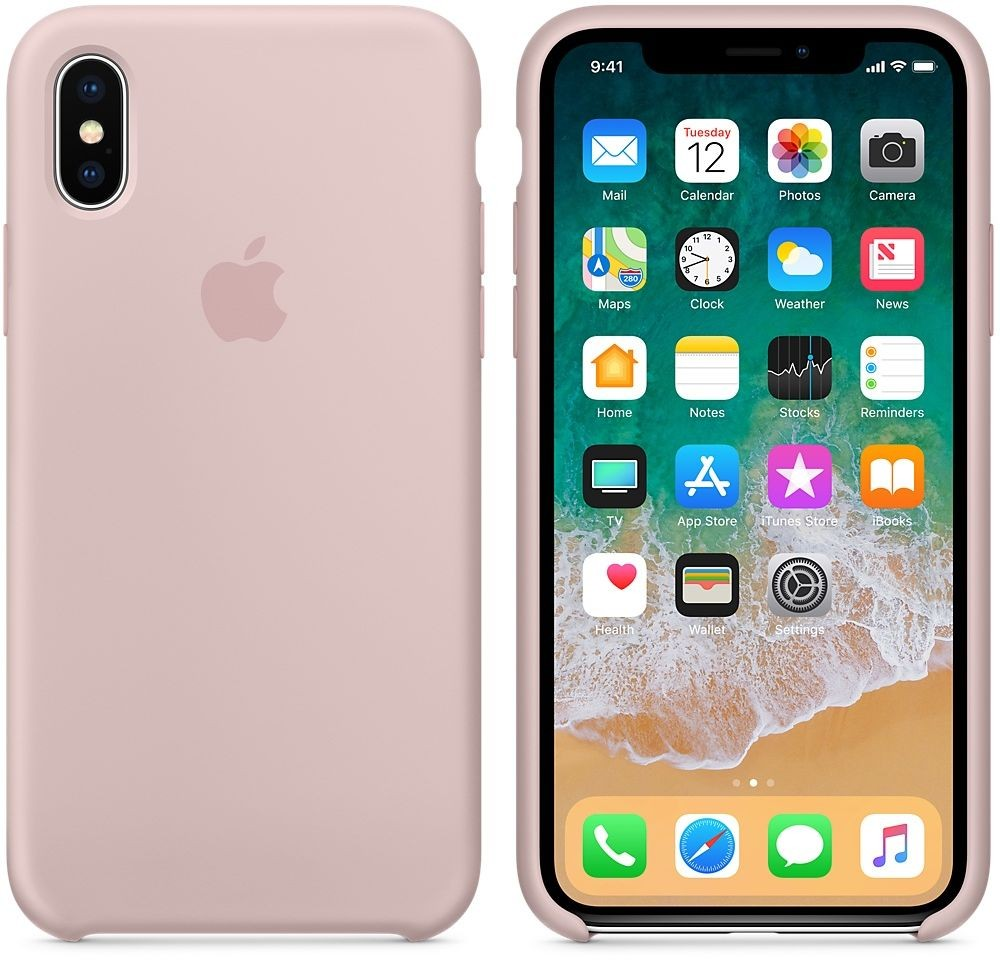 Apple Silicone Case for iPhone X, Pink Sand