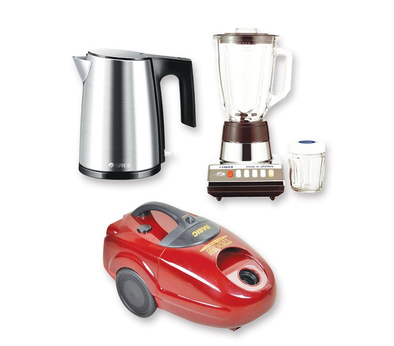Basic SC-B550 Vaccum Cleaner + Gree GK 1208S Electric Kettle + Fisher FM-2460CG Blinder & Mixer
