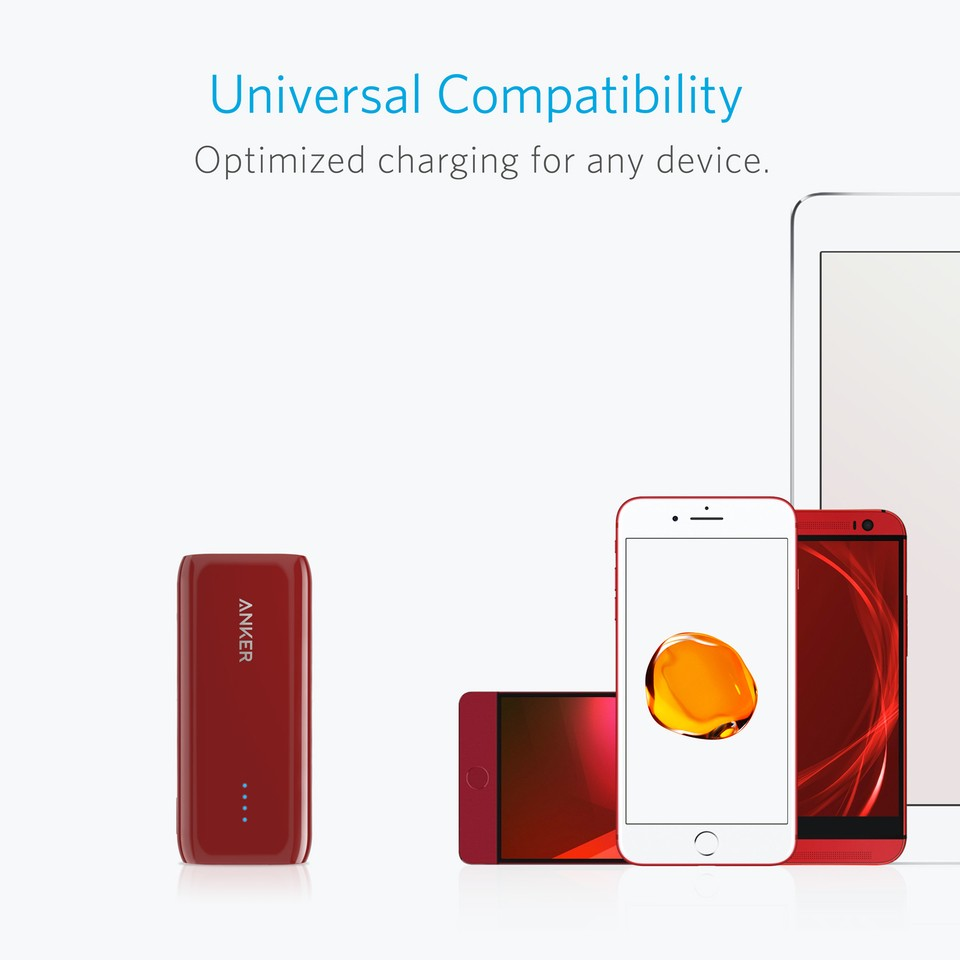 Anker Astro E1 Portable Charger, 5200 mAh, Red - Mobiles